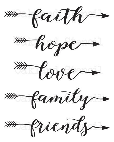 faith hope love family friends STENCIL 6\