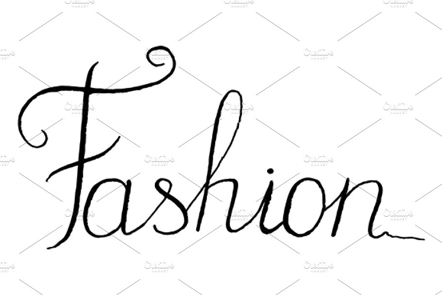 Fashion word lettering italic vector.