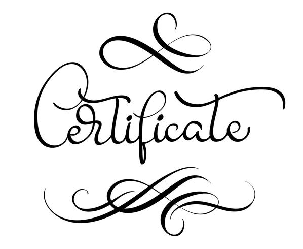 certificate word with flourish on white background.
