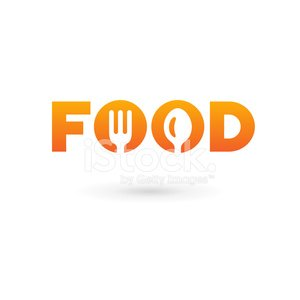Food word sign logo icon with spoon and fork Clipart Image.
