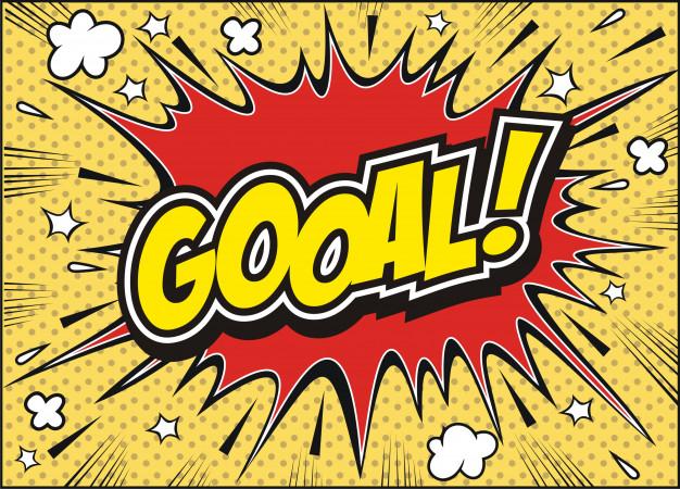 Freehand drawn comic book speech bubble cartoon word goal.
