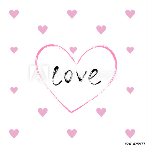 Greeting card with big heart, word love written inside.
