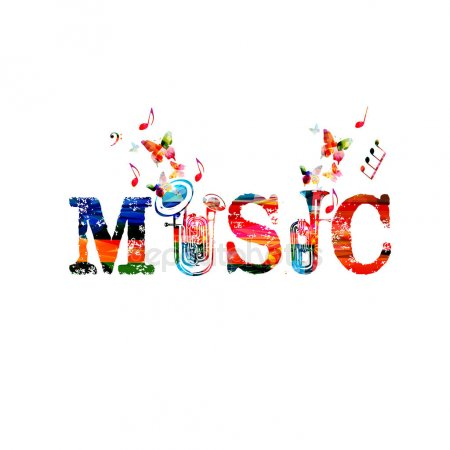 Music Notes Colorful Clip Art Smiling Music Notes Word Music — Stock.