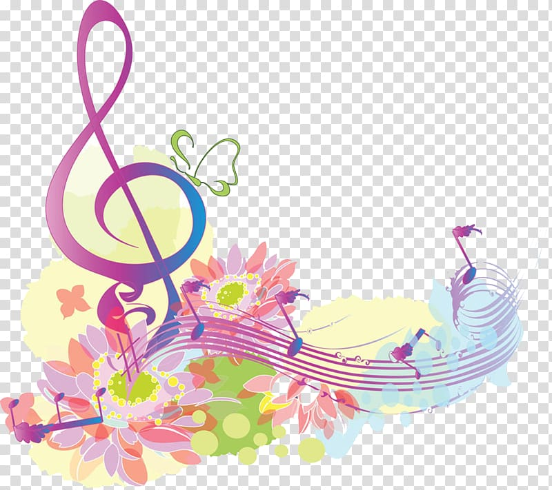 Musical note Clef, Flowers and music symbol , notes colored.