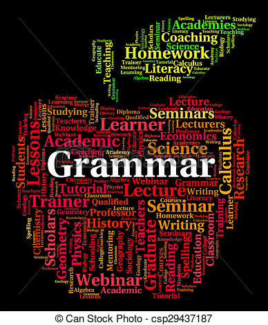 Stock Illustration of Grammar Word Shows Rules Of Language And.