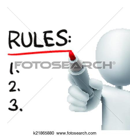 Clipart of rules word written by 3d man k21865880.