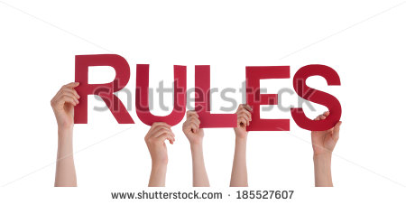 Many People Holding Word Rules Isolated Stock Photo 182526734.