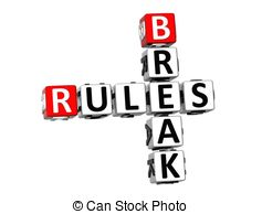 Clip Art of Rules Breaking Laws Illegal Word Cracking 3d.