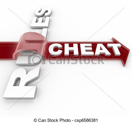 Clipart of Cheating and Jumping Over the Rules.