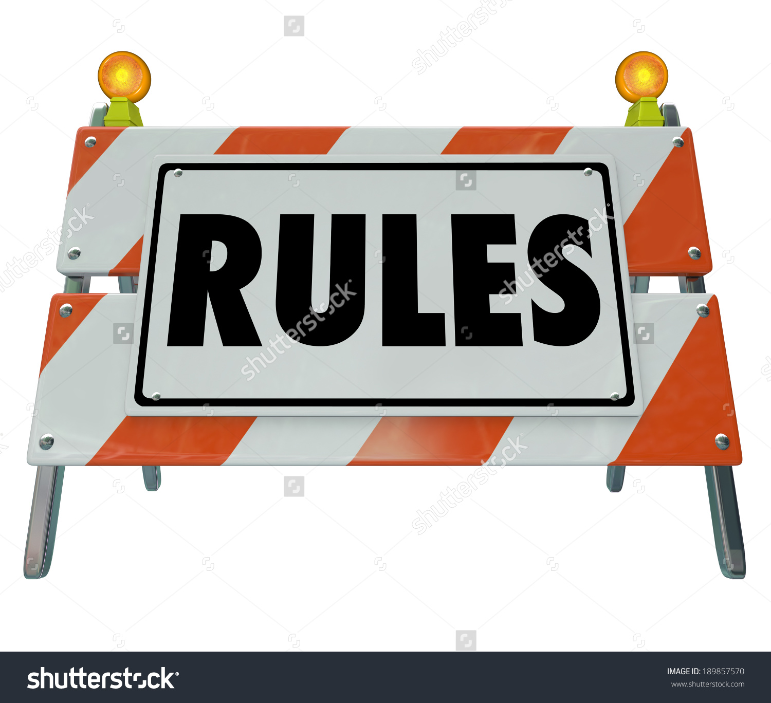 Rules Word Road Construction Barrier Sign Stock Illustration.