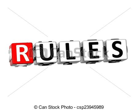 Stock Illustration of 3D Word Rules on white background.