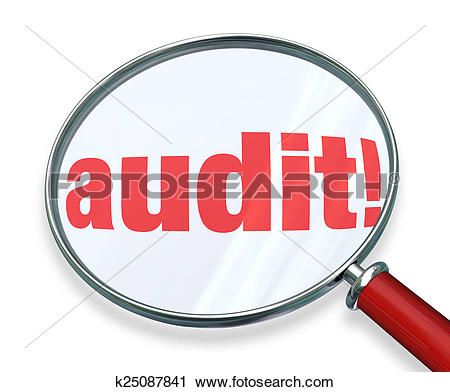 Clipart of Audit Word Magnifying Glass Tax Accounting Bookkeeping.