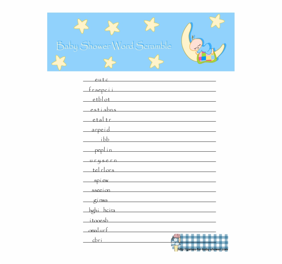 Free Printable Baby Shower Word Scramble 131788.