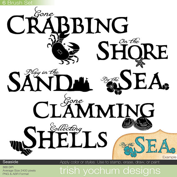 Beach Word Art Digital Sea Ocean Clip Art Hand Drawn Word.