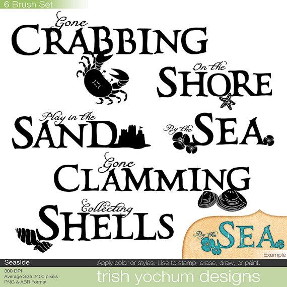 Beach Word Art Digital Sea Ocean Clip Art Hand Drawn Word.