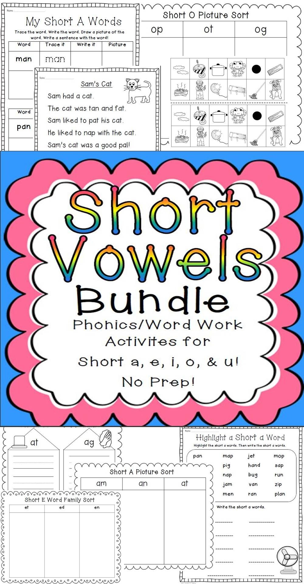 Short Vowels Bundle! Phonics/Word Work.