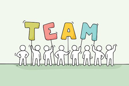 Sketch of working little people with word Team. Clipart.