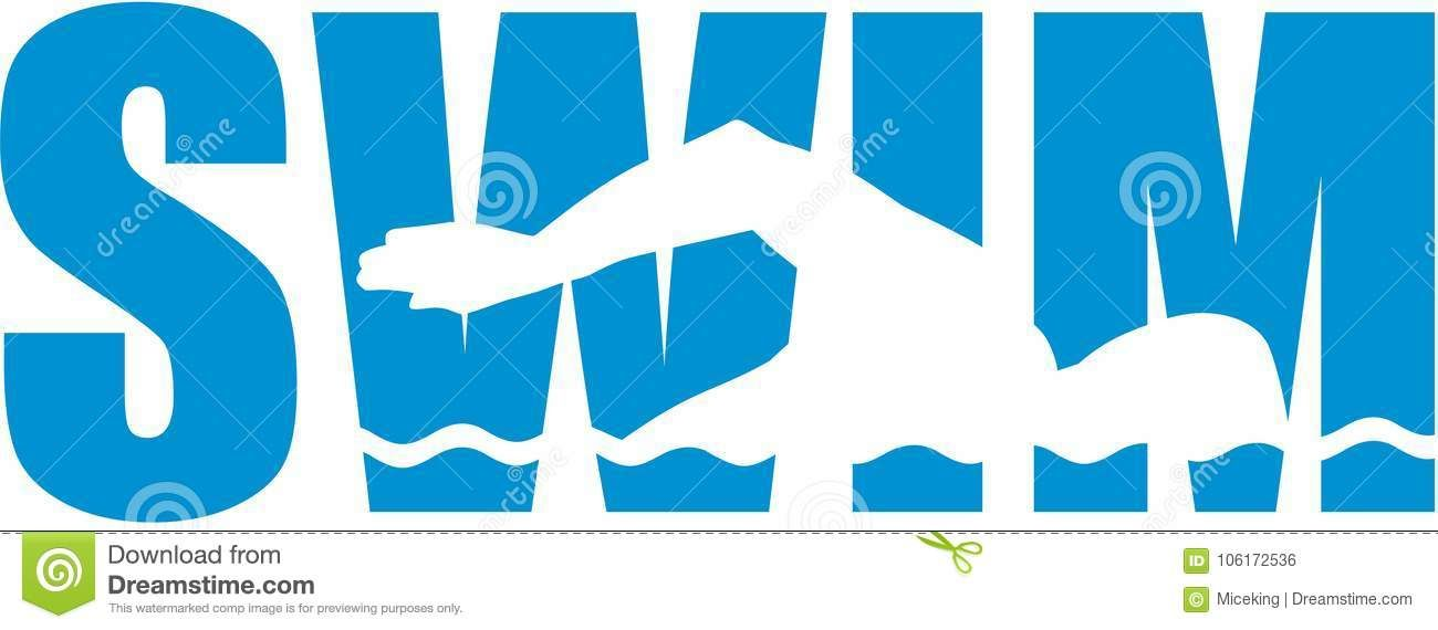 Photo about Swim word with swimmer cutout vector.