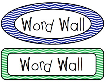 Word Wall Labels (Navy and Green Chevron Theme).