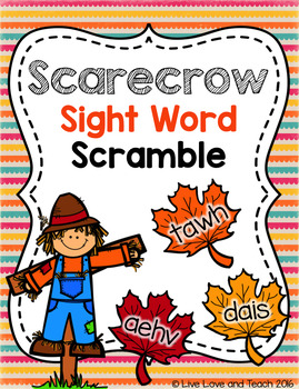 Scarecrow Sight Word Scramble.