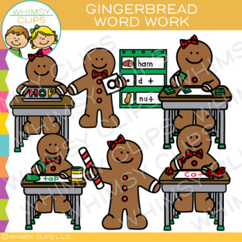 Word Work Gingerbread Clip Art.