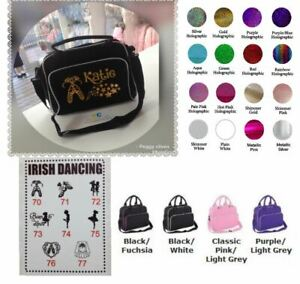 Details about personalised IRISH DANCING bag any wording clipart glitter  any name FAB!!!.