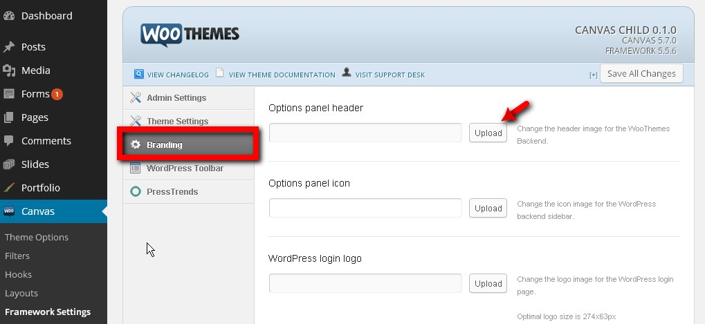 Change canvas logo in the admin page.