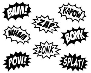 Superhero Words Clipart Black And White.