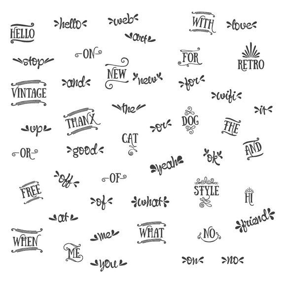 46 Catchwords // Word Art Clipart // Lettering Clipart.