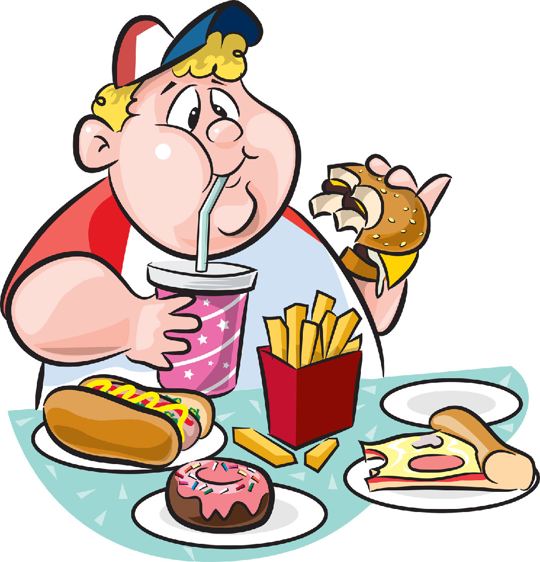 Eating Fast Food Clipart.