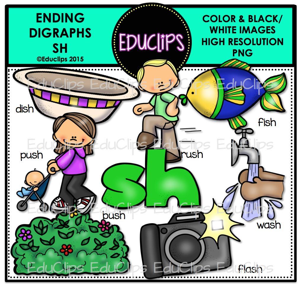 Ending Digraphs SH Clip Art Bundle (Color and B&W).