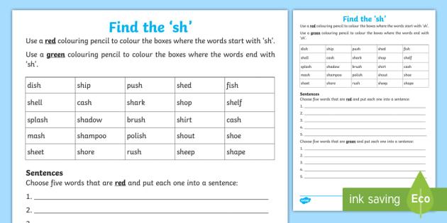 Find the \'sh\' Worksheet.