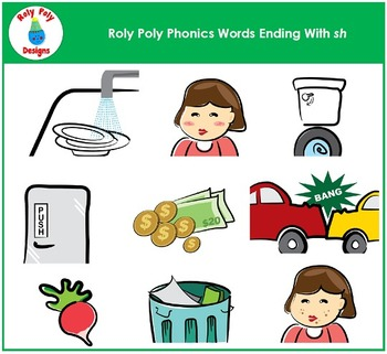 Words Ending In SH Phonics Clip Art by Roly Poly Designs.