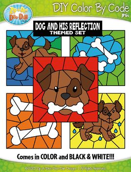 Dog and His Reflection Color By Code Clipart {Zip.