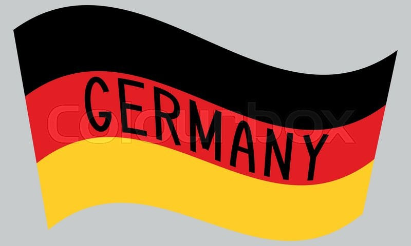 German flag waving with word Germany.