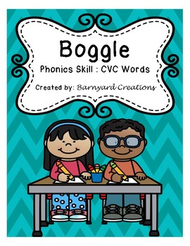 Word Work: Boggle Board Worksheets (CVC words).