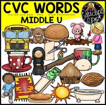 CVC Middle u Words Clip Art Bundle {Educlips Clipart}.