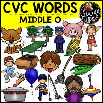CVC Middle o Words Clip Art Bundle {Educlips Clipart} by.
