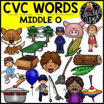 CVC Middle o Words Clip Art Bundle {Educlips Clipart} by.
