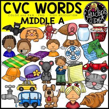CVC Middle a Words Clip Art Bundle {Educlips Clipart}.