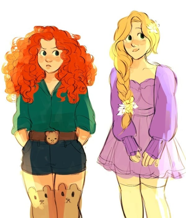 Disney Princesses Go Back to High School in This Adorable Art Work.