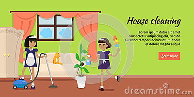 House Cleaning Vector Web Banner In Flat Design Stock Vector.