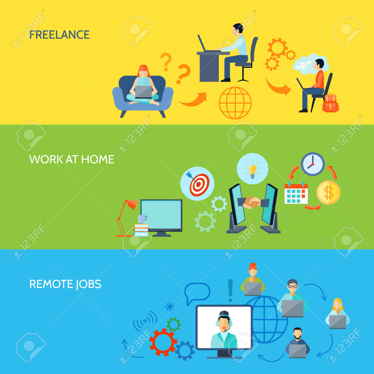 Freelance Online Work At Home And Remote Jobs Flat Color Banner.