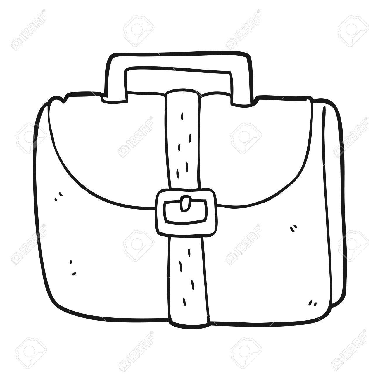 freehand drawn black and white cartoon old work bag.