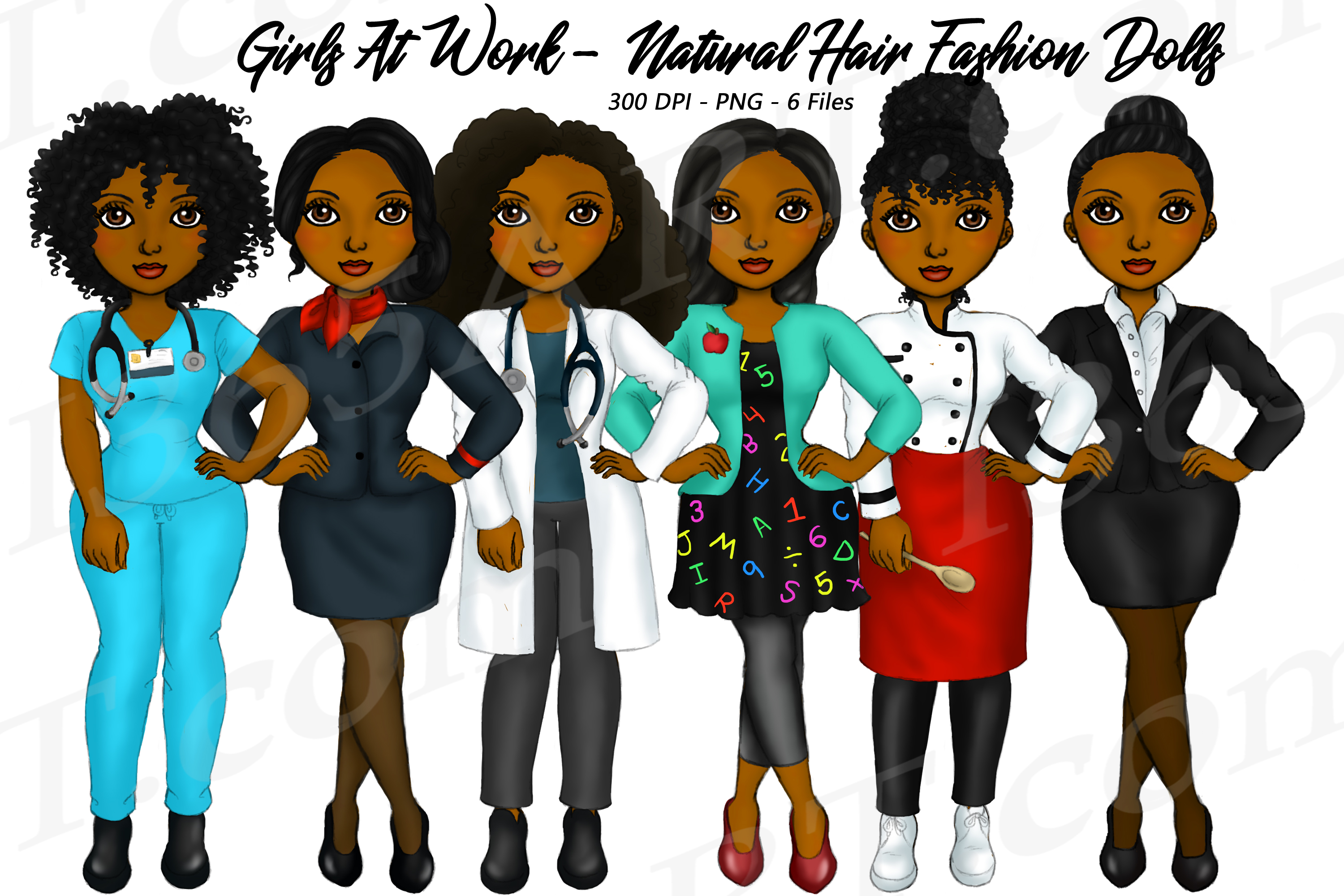 Girls At Work Clipart Natural Hair Fashion Dolls PNG.