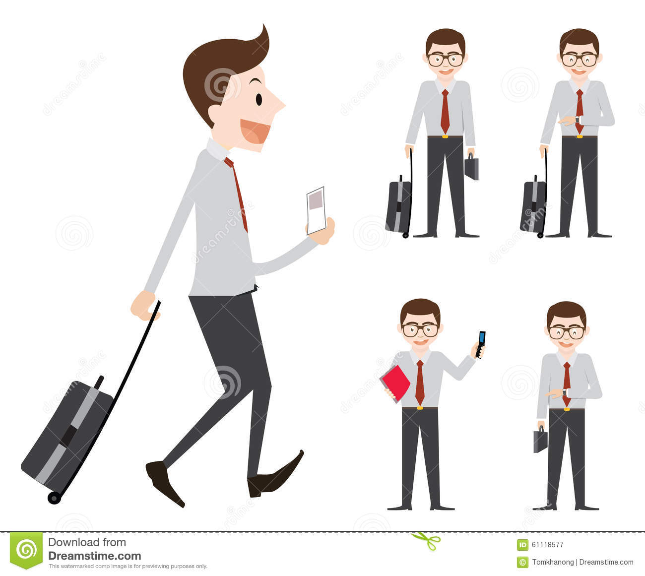 Business Man Work And Go To Business Trip Stock Vector.