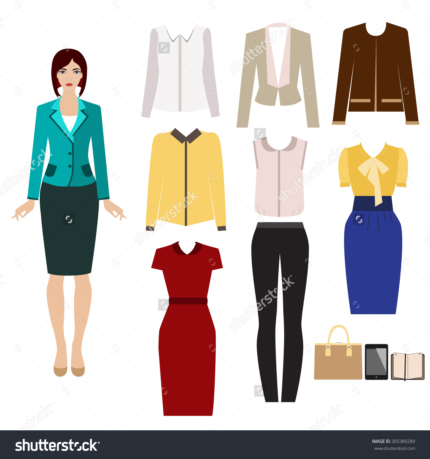 Business Outfit Paper Doll Set Elegant Stock Vector 305389289.