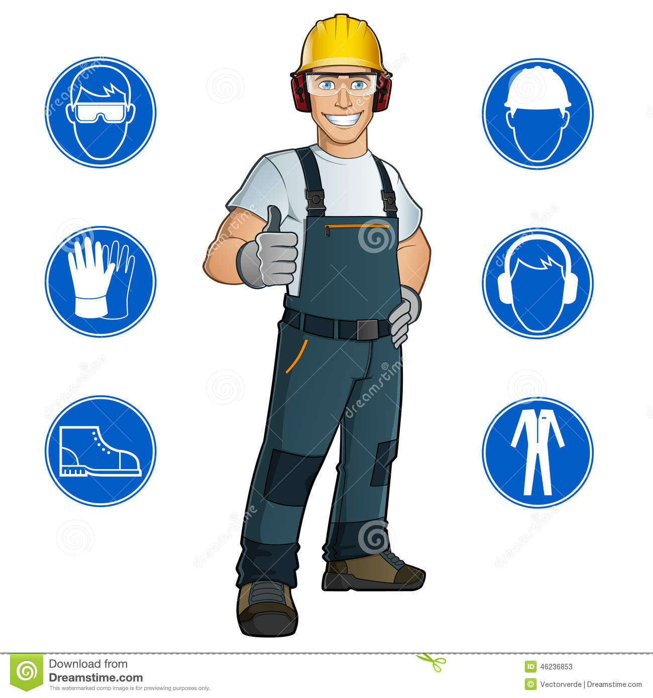 Man Dressed In Work Clothes Stock Vector.