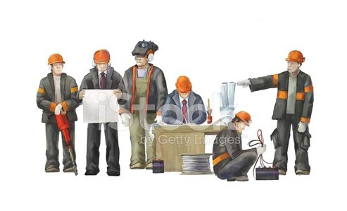 Professional builders team in constraction work Clipart.
