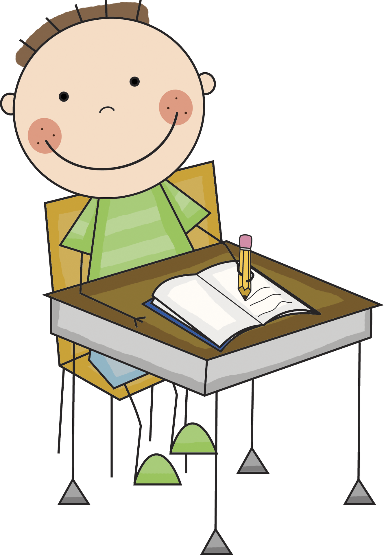 Student working at desk one to one work clipart.